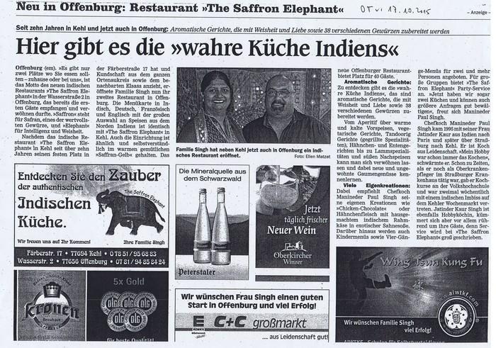Offenburg Zeitung Saffron Elephant